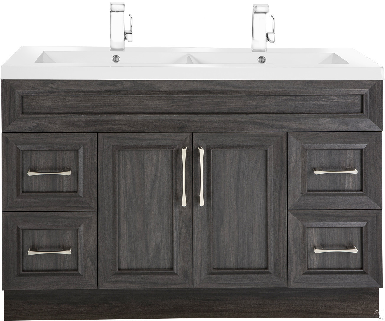 Cutler Kitchen & Bath Classic CCKATR48DBT 48 Inch Freestanding Double Bowl Vanity with 4 Soft Close Drawers, Countertop and Sink and Handles Included