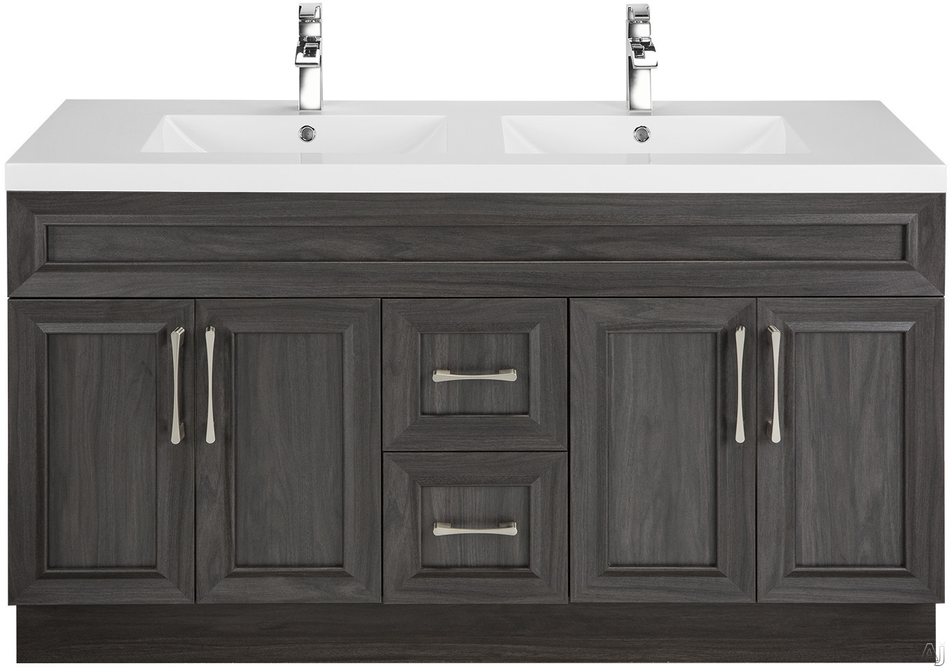 Cutler Kitchen & Bath Classic CCKATR60DBT 60 Inch Freestanding Double Bowl Vanity with 2 Soft Close Drawers, Countertop and Sink and Handles Included