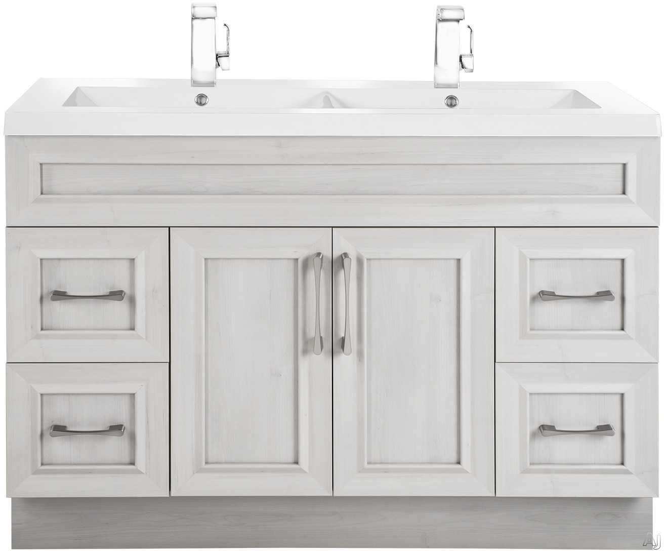 Cutler Kitchen & Bath Classic CCMCTR48DBT 48 Inch Freestanding Double Bowl Vanity with 4 Soft Close Drawers, Countertop and Sink and Handles Included