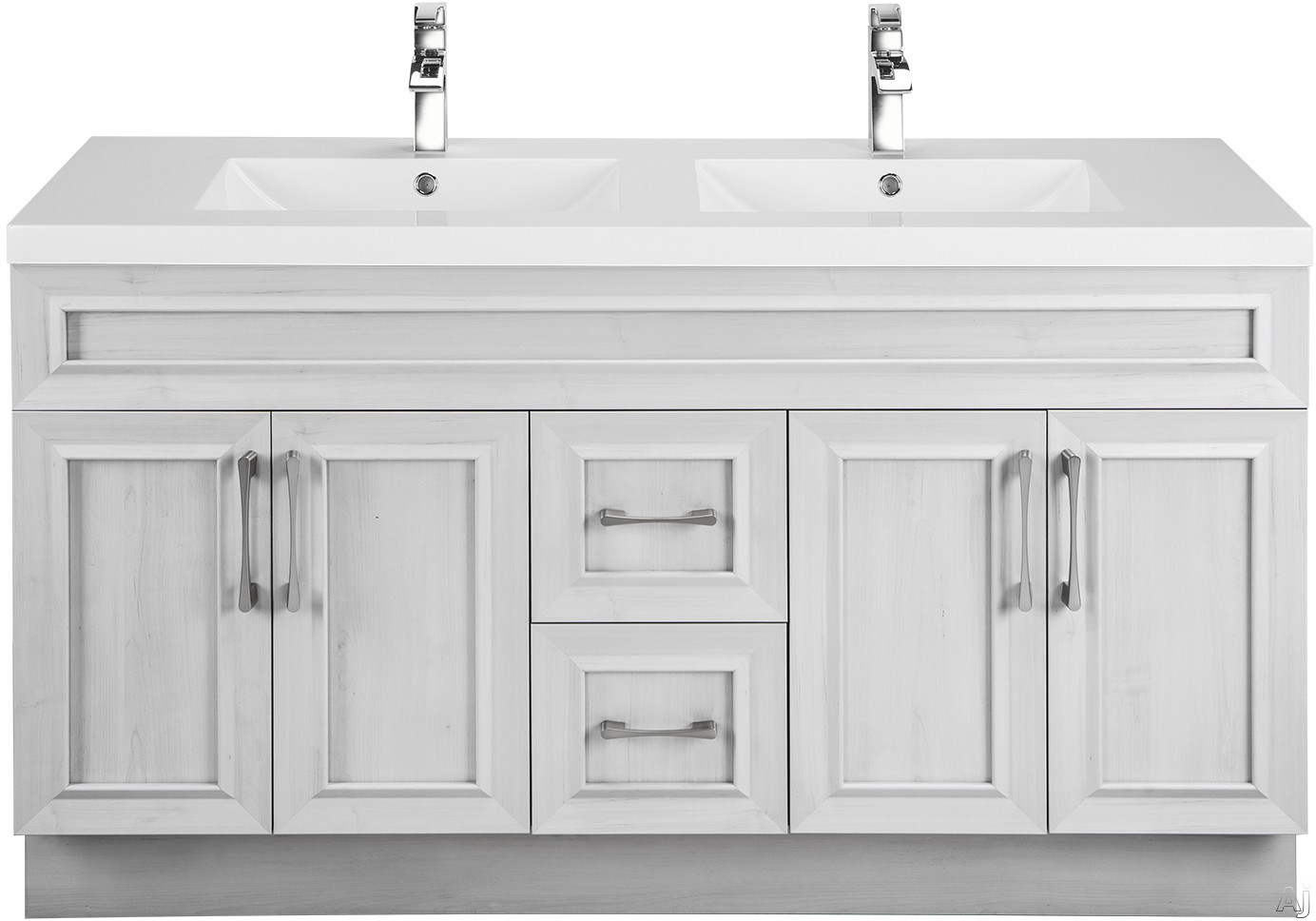 Cutler Kitchen & Bath Classic CCMCTR60DBT 60 Inch Freestanding Double Bowl Vanity with 2 Soft Close Drawers, Countertop and Sink and Handles Included