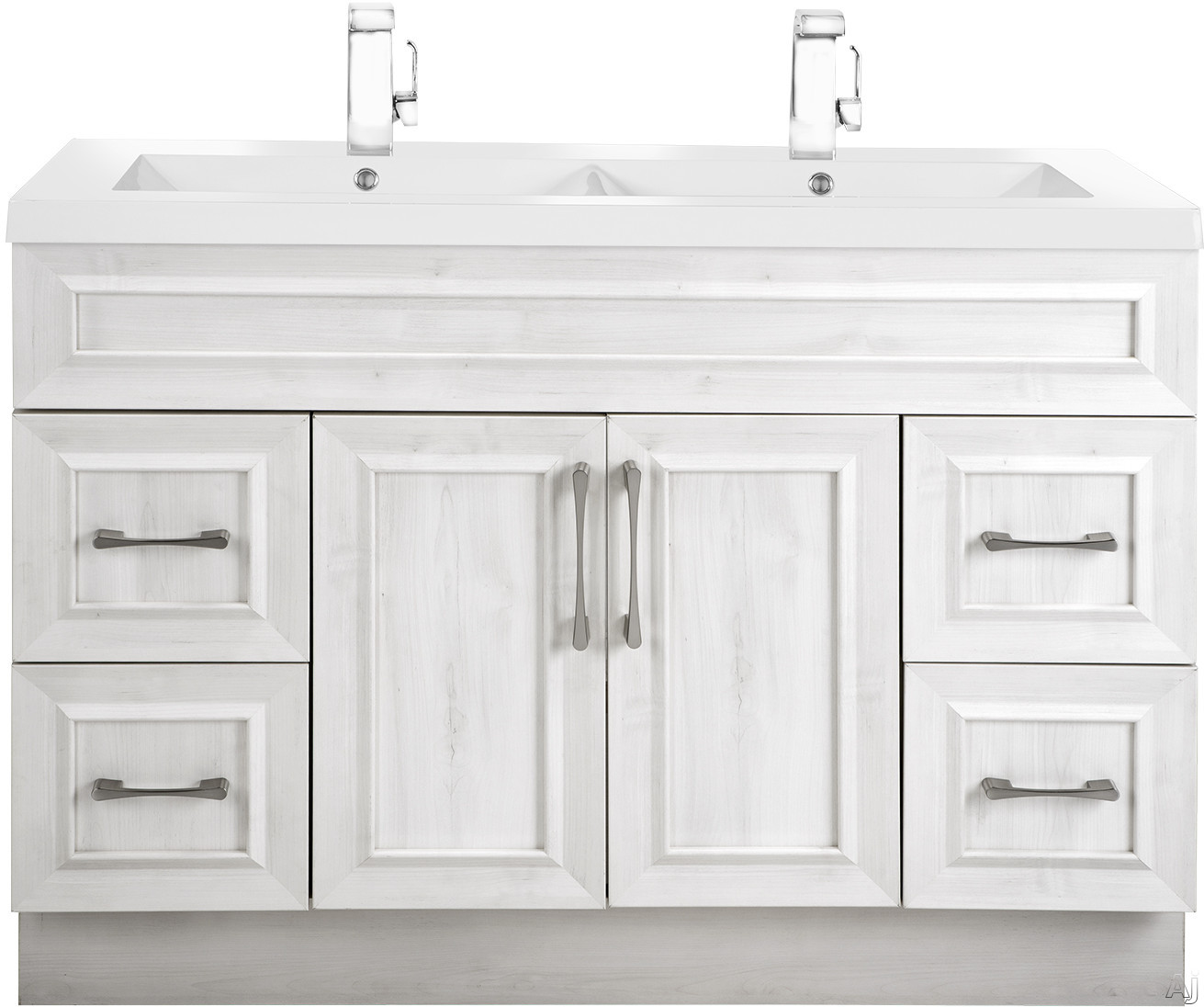 Cutler Kitchen & Bath Classic CCTRFH48DBT 48 Inch Freestanding Double Bowl Vanity with 4 Soft Close Drawers, Countertop and Sink and Handles Included