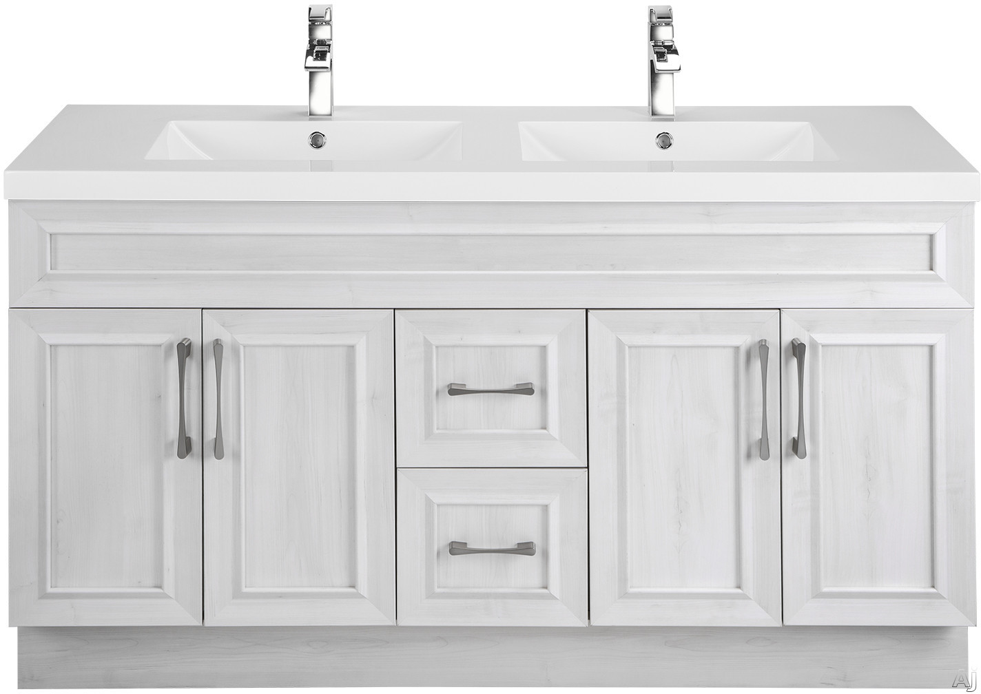 Cutler Kitchen & Bath Classic CCTRFH60DBT 60 Inch Freestanding Double Bowl Vanity with 2 Soft Close Drawers, Countertop and Sink and Handles Included
