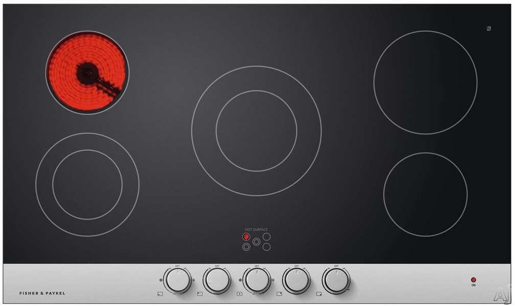Fisher & Paykel CE365DBX1N 36 Inch Smoothtop Electric Cooktop with 5 Ribbon Elements, Lower Turndown Super Simmer, Schott Ceran Glass Ceramic Surface, Brushed Stainless Steel Trim and Individual Hot S