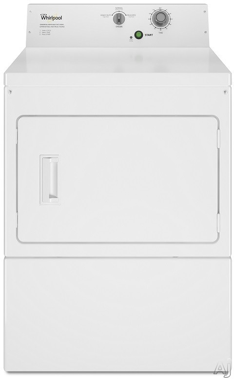 Whirlpool Commercial Laundry CEM2795FQ 27 Inch Commercial Electric Dryer with Wide-Opening Side-Swing Door, Four-Roller Suspension, Mechanical Timer, 3 Dry Cycles, Rear Control Knobs, 1/3-HP Motor and 7.4 cu. ft. Capacity