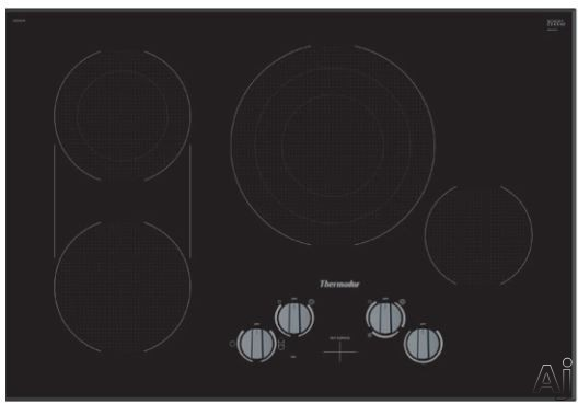 Thermador Masterpiece Series CEM305TB 30 Inch Electric Cooktop with Dual Zone Bridge, Triple Zone Center, 9-stage Power, Residual Heat Indicator and Heavy Duty Knobs