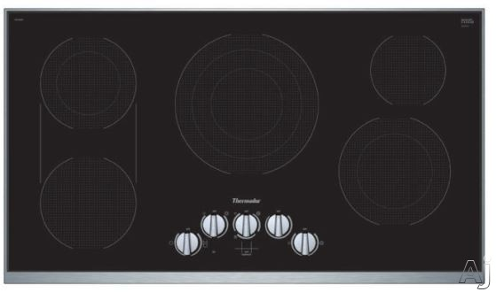 Thermador Masterpiece Series CEM366TB 36 Inch Electric Cooktop with Dual Zone Bridge, Triple Zone Center, 9-stage Power, Residual Heat Indicator and Heavy Duty Knobs