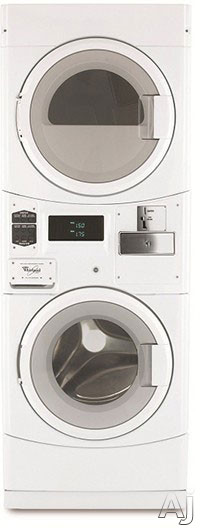 Whirlpool Commercial Laundry CGT8000XQ 27 Inch Stacked Commercial Washer Gas Dryer Combo with 3.2 cu. ft. Washer 6.7 cu. ft. Dryer 9 Wash Cycles Stainless Steel Wash Basket Automatic Detergent Dispens