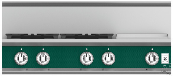 "Hestan KRT364GDLPGR 36 Inch Rangetop with 4 Sealed Burners, 12 Inch Griddle, Cast-Iron Continuous Grates, Backlit Control Knobs and Marquiseâ""¢ Control Panel: Natural Gas / Grove"
