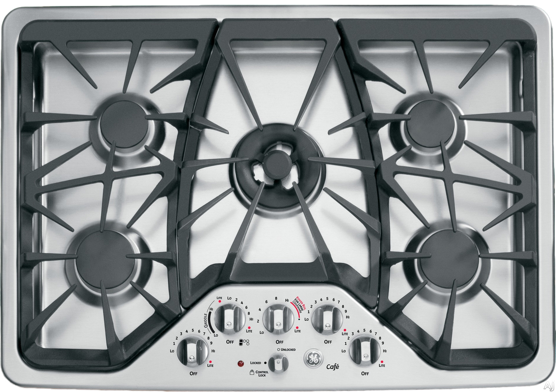 GE Cafe Series CGP350SETSS 30 Inch Gas Cooktop with 5 Sealed Burners, 20,000 BTU Tri-Ring Burner, Precise Simmer Burner, Heavy Cast Grates, Child Lock, Griddle Accessory, GE Fits! Guarantee and ADA Compliant