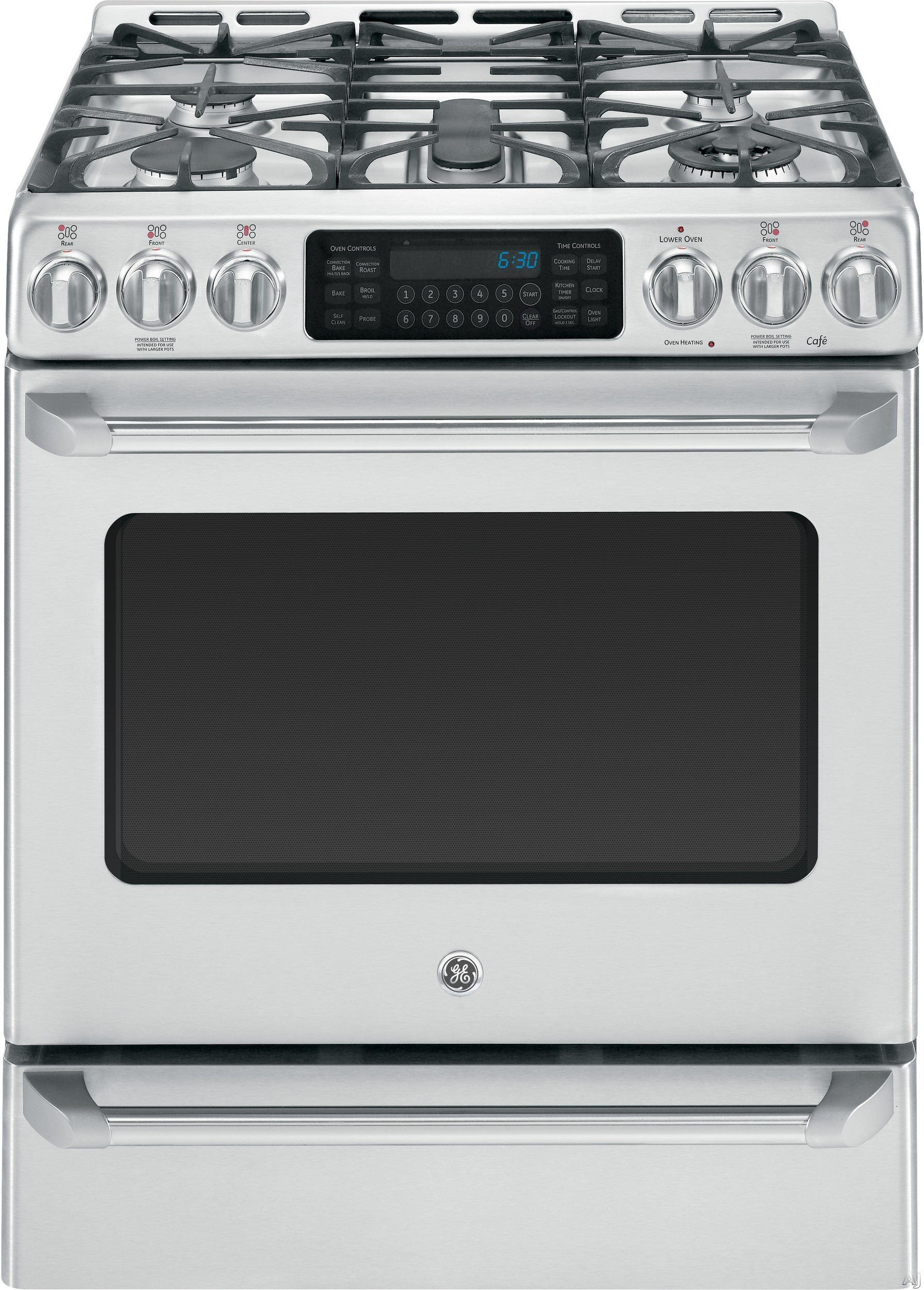 "GE Cafe Series CGS985SETSS 30"" Slide-in Gas Range with 5 Sealed Burners, 5.4 cu. ft. Convection Oven, 20,000 BTU Tri-Ring Burner, Non-Stick Griddle, Temperature Probe, Baking Drawer and Self-Clean Mode"
