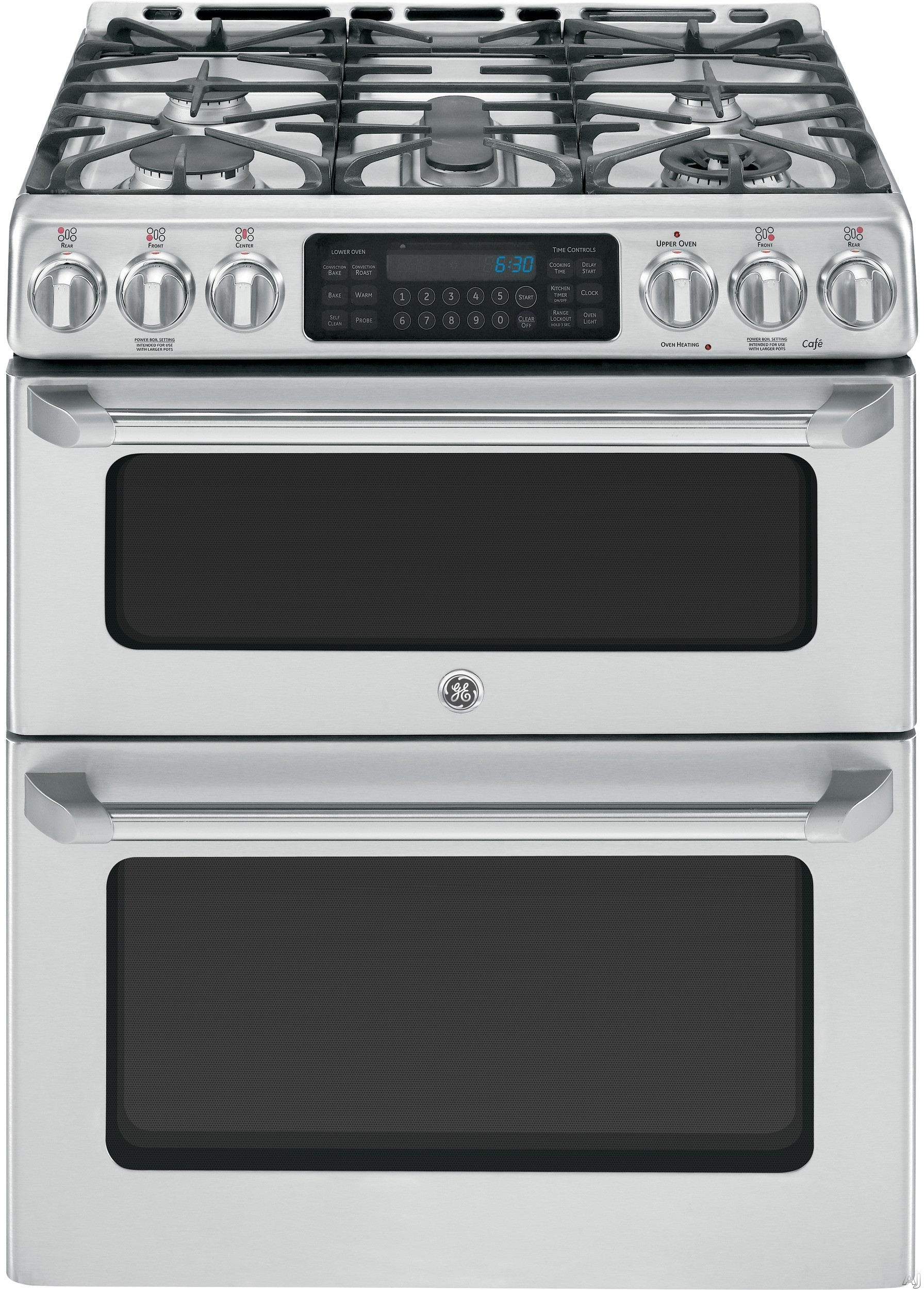 "GE Cafe Series CGS990SETSS 30"" Freestanding Gas Range with 5 Sealed Burners, 20,000 BTU Tri-Ring Burner, Precise Simmer Burner, 6.7 cu. ft. Convection Double Oven, Self-Clean and Griddle Accessory"