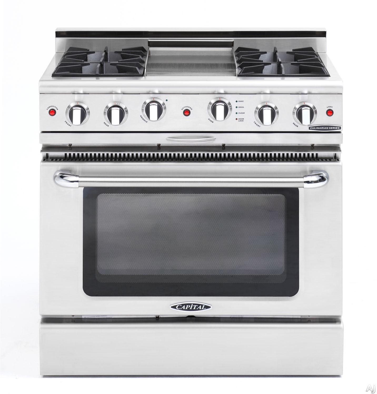 "Capital Culinarian Series CGSR362G2N 36 Inch Pro-Style Gas Range with 4 Open Burners, Moto-Rotisâ""¢ Rotisserie, 12"
