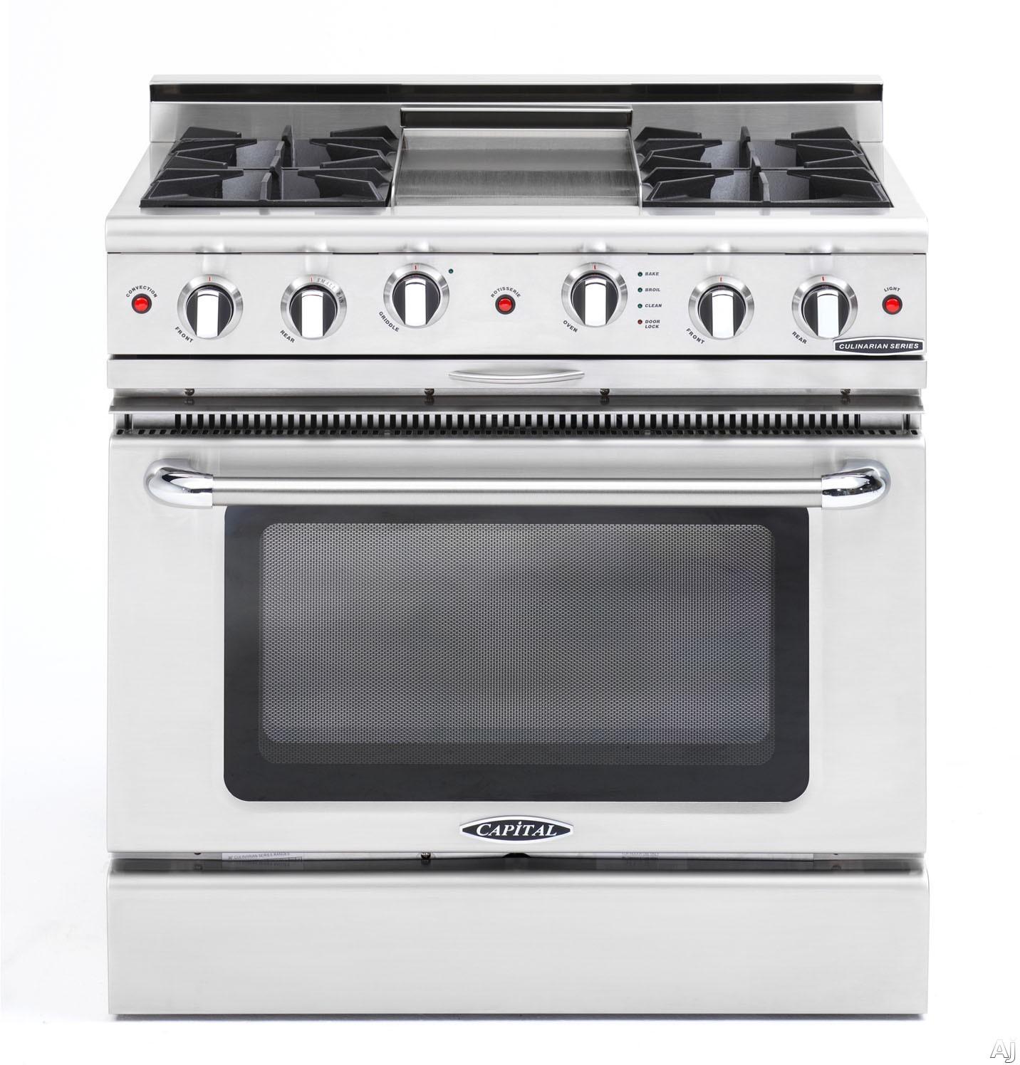 "Capital Culinarian Series CGSR362G2L 36 Inch Pro-Style Gas Range with 4 Open Burners, Moto-Rotisâ""¢ Rotisserie, 12"