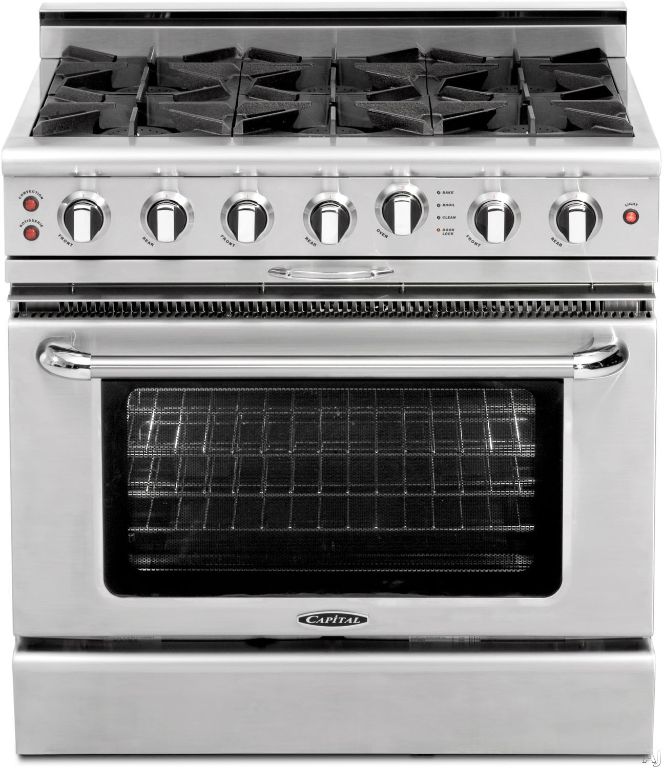 """Capital Culinarian Series CGSR366N 36 Inch Pro-Style Gas Range with 6 Open Burners, EZ-Glidesâ""""¢ Drip Tray, Flex-Rollâ""""¢ Oven Racks, Self Clean, Inrared Broiler, Moto-Rotisâ""""¢ Rotisserie and 4.6 cu. ft. Convection Oven: Stainless Steel Natural Gas CGSR36"""