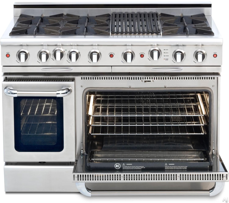 Capital Culinarian Series CGSR484B2N 48 Inch Pro-Style Gas Range with 6 Open Burners, 12