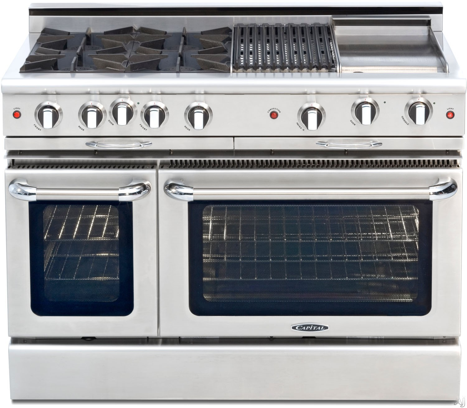"Capital Culinarian Series CGSR484BB 48 Inch Pro-Style Gas Range with 4 Open Burners, Moto-Rotisâ""¢ Rotisserie, Stay-Coolâ""¢ Knobs, 24"""" BBQ Grill, EZ-Glidesâ""¢ Drip Trays, Self Clean, 4.6 cu. ft. Convection Oven and 2.1 cu. ft. Secondary Oven"" CGSR484BB"