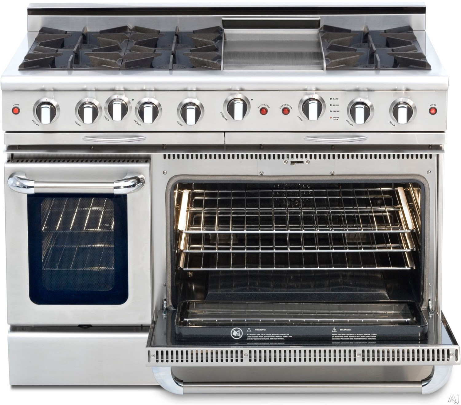 "Capital Culinarian Series CGSR484G2 48 Inch Pro-Style Gas Range with 6 Open Burners, 12"""" Thermo-Griddle, Moto-Rotisâ""¢ Rotisserie, Flex-Rollâ""¢ Oven Racks, EZ-Glidesâ""¢ Drip Trays, Stay-Coolâ""¢ Knobs, Self Clean, 4.6 cu. ft. Convection Oven and 2.1 cu."