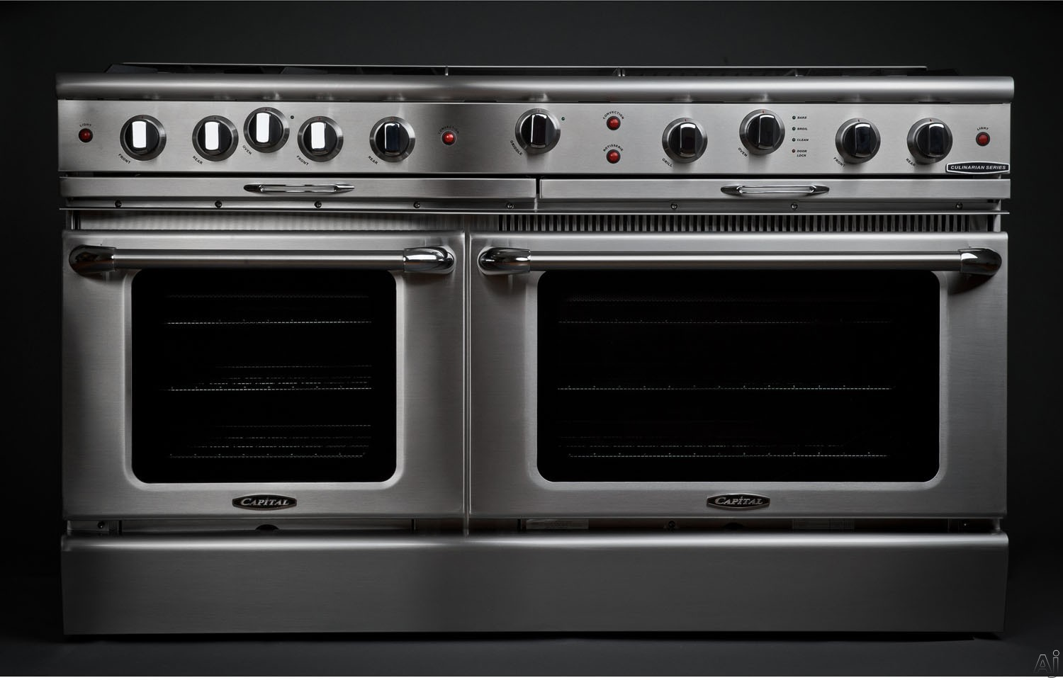 Capital Culinarian Series CGSR604BB2L 60 Inch Pro-Style Gas Range with 6 Open Burners, 24