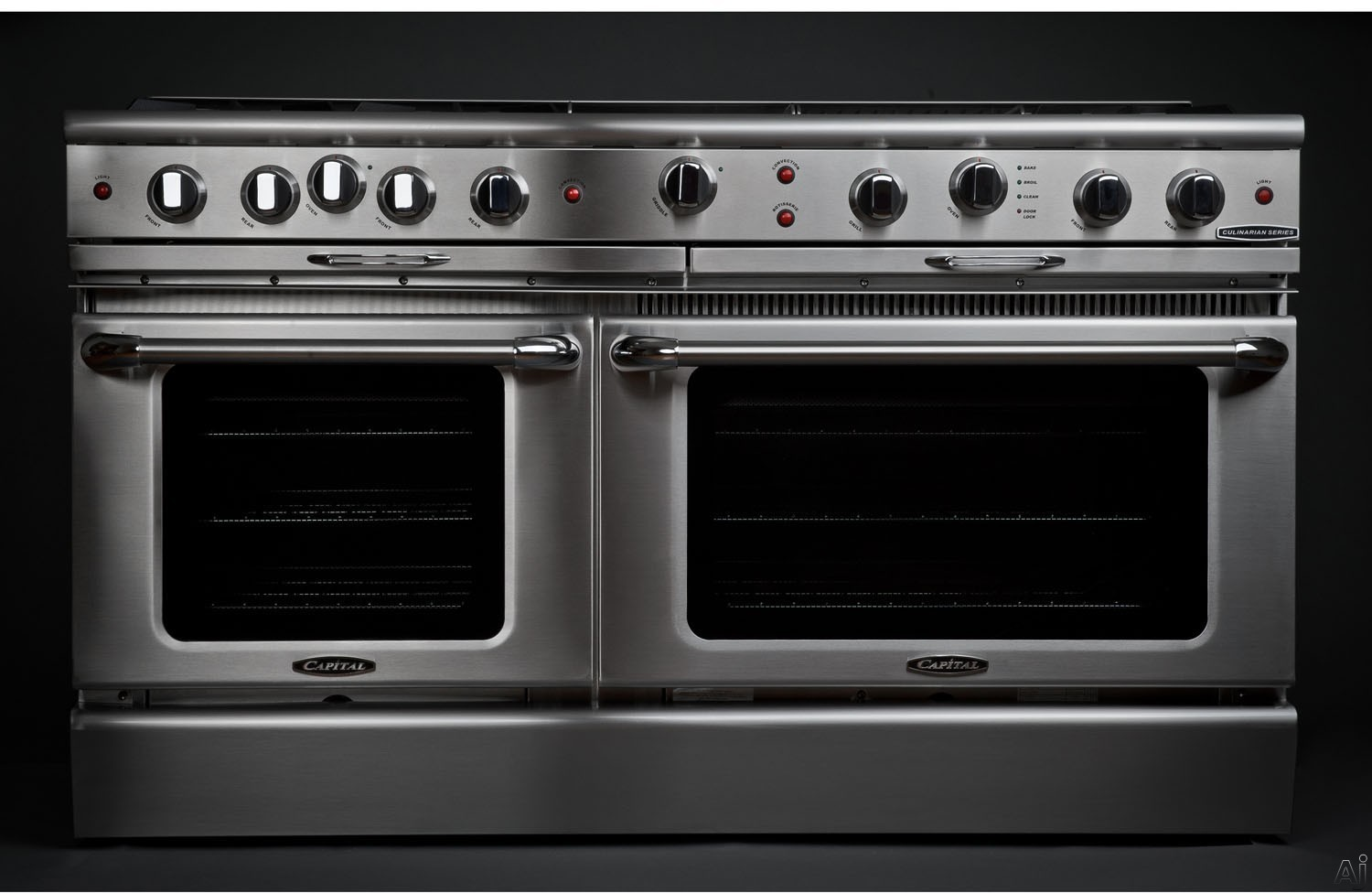 "Capital Culinarian Series CGSR604G4 60 Inch Pro-Style Gas Range with 8 Open Burners, 12"""" Thermo Griddle, 4.6 cu. ft. Convection Oven, 3.1 cu. ft. Secondary Oven, Self Clean Ovens, EZ-Glidesâ""¢ Drip Tray and Moto-Rotisâ""¢ Rotisserie"" CGSR604G4"