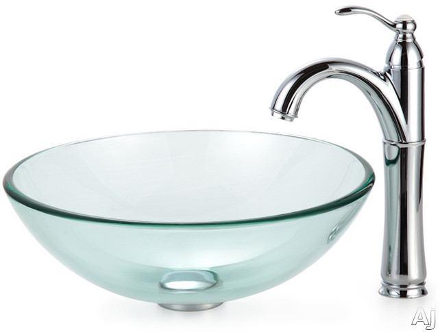 Kraus Clear Series CGV10112MM1005CH 16 1/2 Inch Clear Glass Vessel Sink with Riviera Faucet, 12mm Thick Glass, Pop-Up Drain, Mounting Hardware Included and ADA Compliant: Chrome Hardware