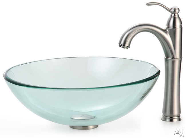 Kraus Clear Series CGV10112MM1005SN 16 1/2 Inch Clear Glass Vessel Sink with Riviera Faucet, 12mm Thick Glass, Pop-Up Drain, Mounting Hardware Included and ADA Compliant: Satin Nickel Hardware