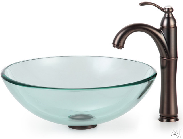 Kraus Clear Series CGV10112MM1005ORB 16 1/2 Inch Clear Glass Vessel Sink with Riviera Faucet, 12mm Thick Glass, Pop-Up Drain, Mounting Hardware Included and ADA Compliant: Oil Rubbed Bronze Hardware