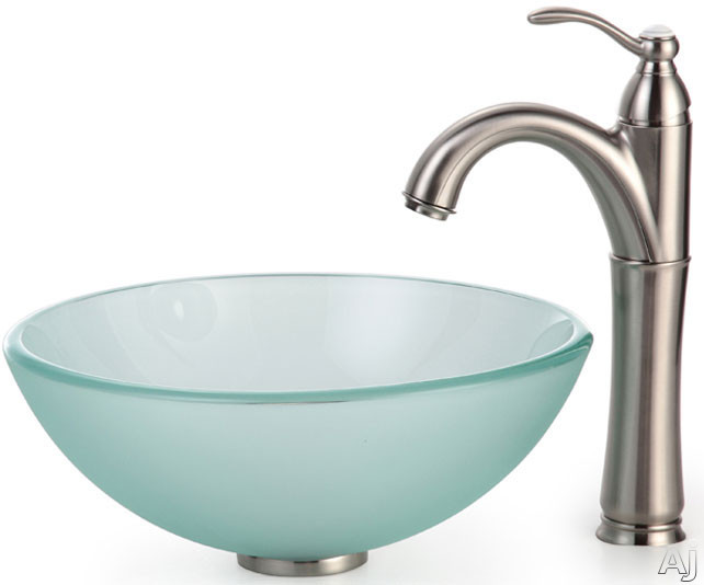 Kraus Frosted Series CGV101FR1412MM1005SN 14 Inch Frosted Glass Vessel Sink with Riviera Faucet, 5 1/2 Inch Bowl Depth, 12mm Glass Thickness and Solid Brass Hardware Included: Satin Nickel Hardware