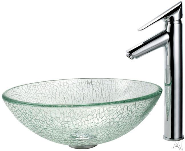 "Kraus Broken Glass Series CGV50012MM1800CH 16 1 / 2"" Broken Glass Vessel Sink with Decus Faucet, 5 1, U.S. & Canada CGV50012MM1800CH"