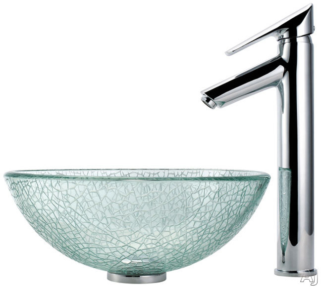 "Kraus Broken Glass Series CGV5001412MM1800CH 14"" Broken Glass Vessel Sink with Decus Faucet, 5-1 /, U.S. & Canada CGV5001412MM1800CH"