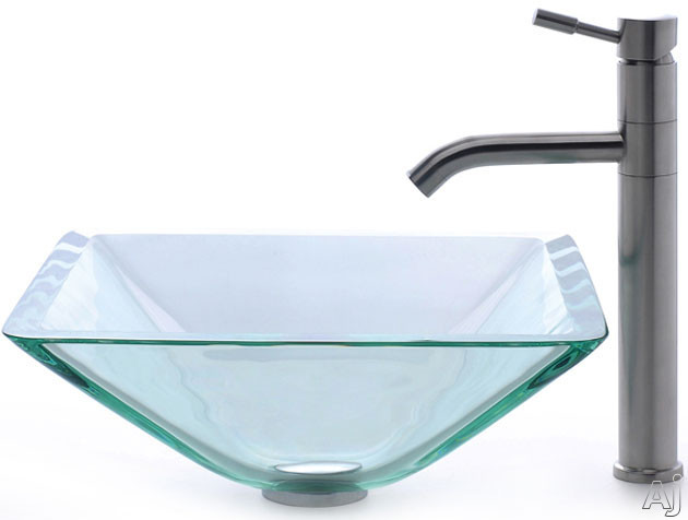 "Kraus CGVS90119MM2180 16 1 / 2"" Clear Aquamarine Glass Vessel sink with Aldo Stainless Steel Faucet, U.S. & Canada CGVS90119MM2180"