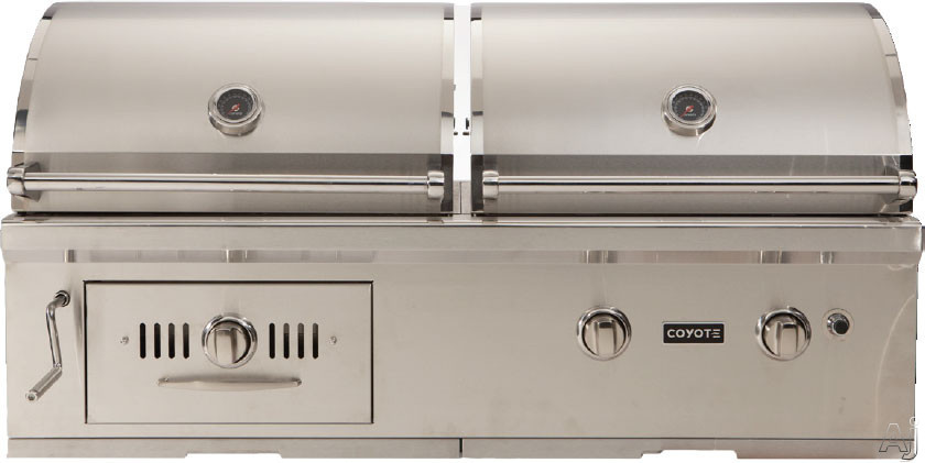 """Coyote CH50LP 50"""" Built-in Hybrid Gas and Charcoal Grill with 600 sq. in. Cooking Area, 40,000 Total BTU, 2 iBurners, Charcoal Drawer, Warming Rack and Charcoal Crank Assembly: Liquid Propane"""