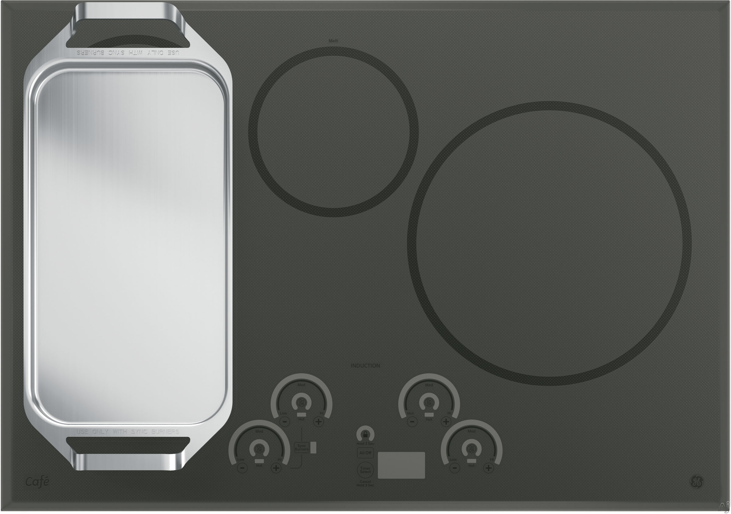 Induction Cooktop Griddle ~ Ge chp sjss quot induction cooktop with cooking zones