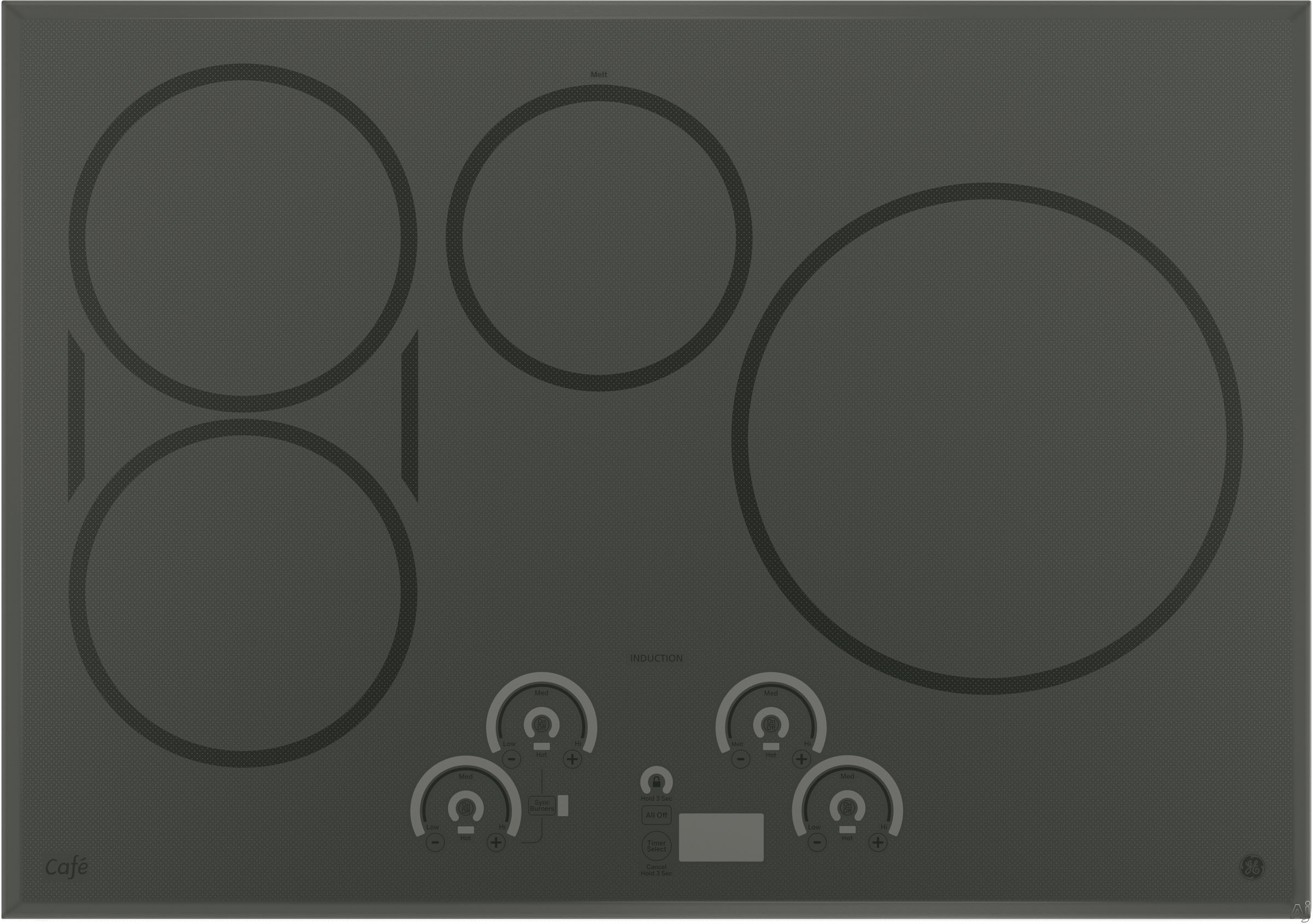 GE Cafe Series CHP9530SJSS 30 Inch Induction Cooktop with 4 Induction Elements, SyncBurners, Griddle, Blue/Red Touch Sensor Controls, Control Lock, All-Off Feature, Hot Surface Indicator Light, GE Fit