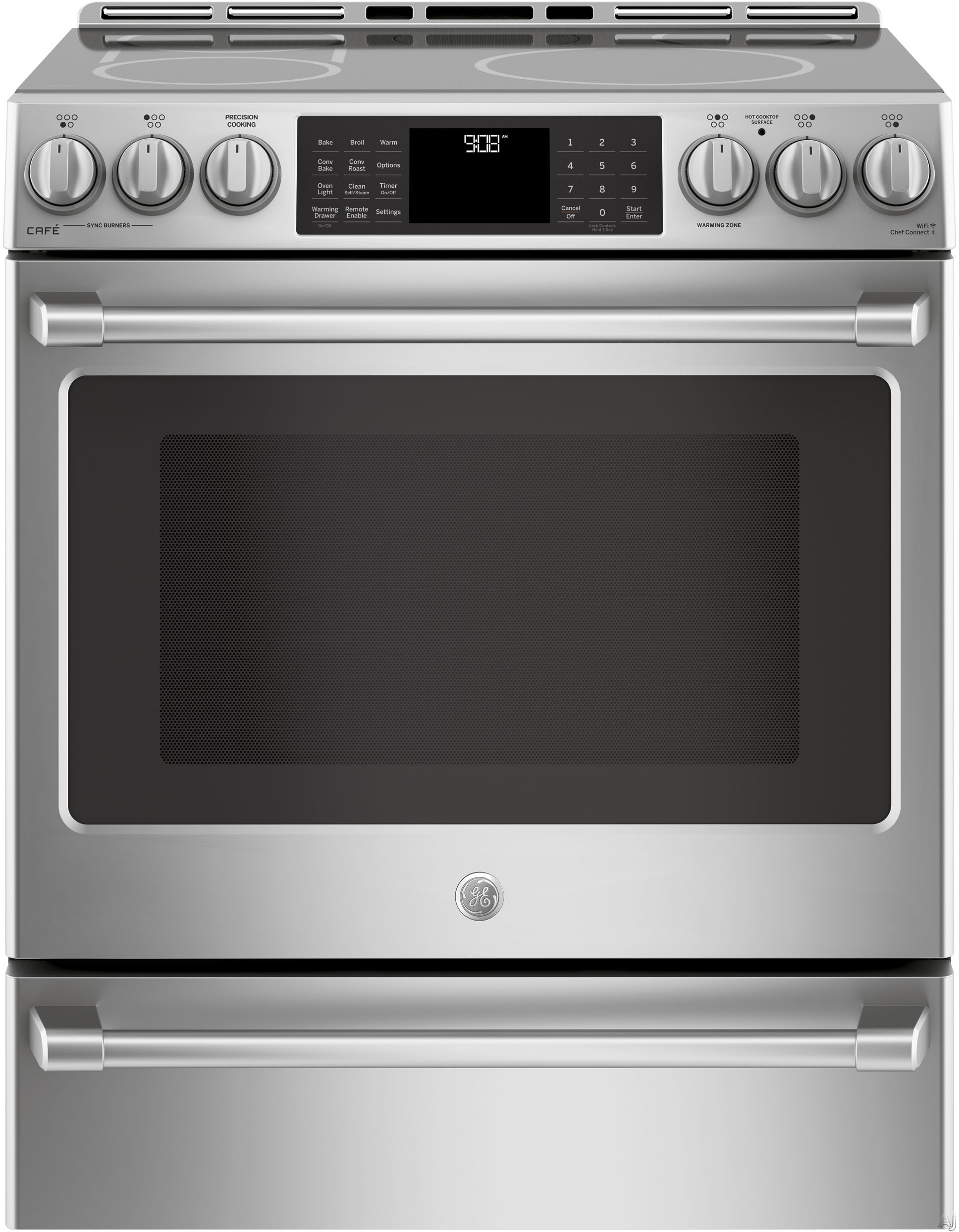 GE Cafe Series CHS985SELSS 30 Inch Slide-In Induction Electric Range with WiFi Connect, True Convection, Chef Connect, Precision Cooking Probe, Warming Drawer, Steam Clean, LED Backlit Knobs, 5 Heatin