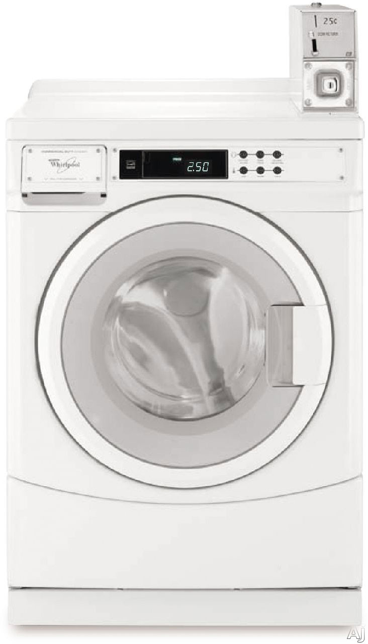 Whirlpool Commercial Laundry CHW8990CW 27 Inch Front Load Commercial Washer with 9 Wash Cycle Options, Coin Box Ready, Front Push-Button Digital Controls, 3.1 cu. ft. Capacity, Stainless Steel Wash Drum, CEE Tier II, Energy Star Rated and ADA Compliant C