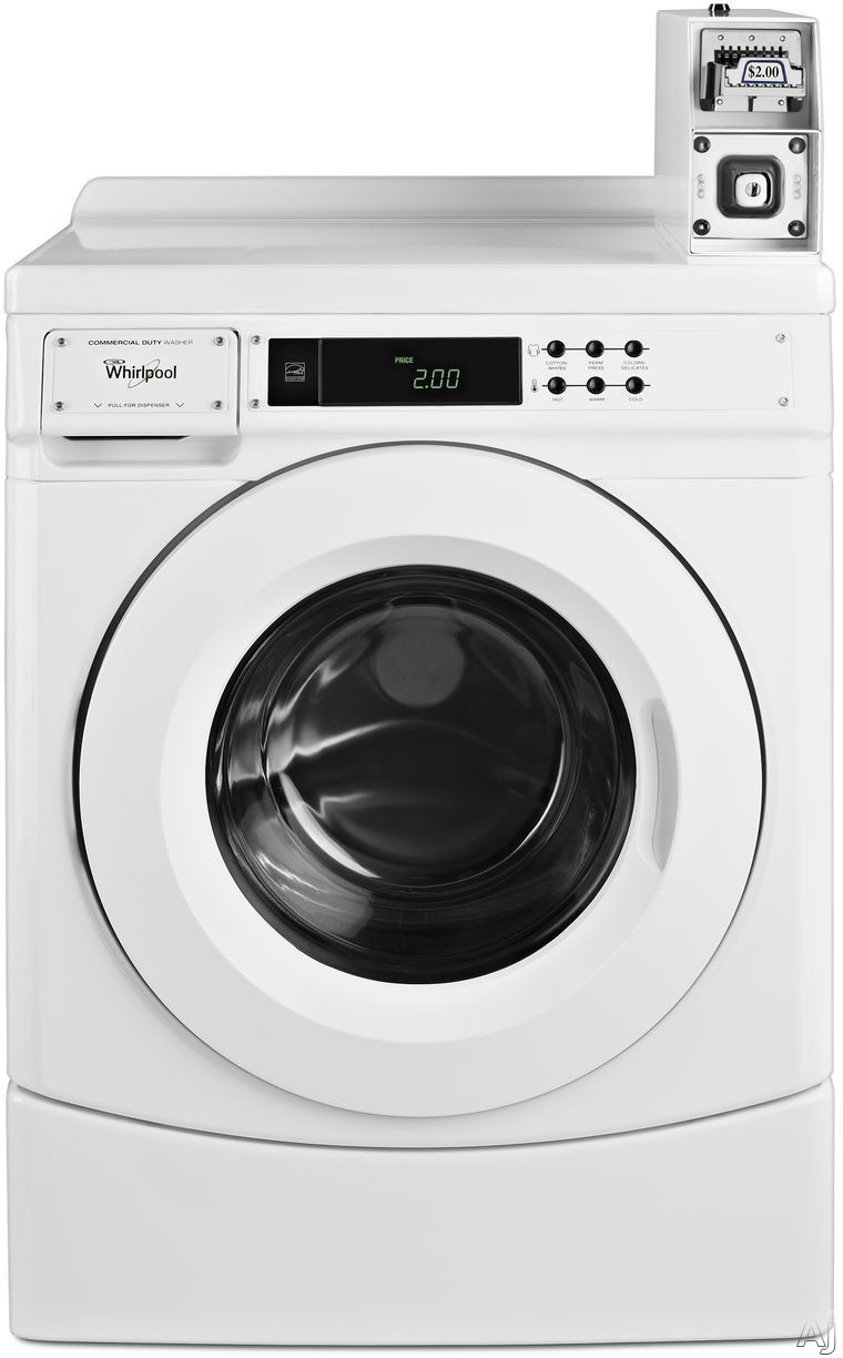 Whirlpool Commercial Laundry CHW9050AW 27 Inch Front Load Commercial Washer with 9 Wash Cycle Options, Pre-Installed Coin Box, Front Push-Button Digital Controls, 3.1 cu. ft. Capacity, Stainless Steel Wash Drum, CEE Tier II, Energy Star Rated and ADA Com