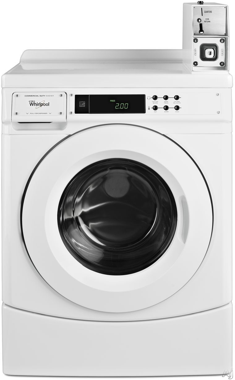 Whirlpool CHW9150GW 27 Inch Commercial Front Load Washer with Pre-Installed Coin Box, Microprocessor Controls, Super Cycle, 1000 RPM Spin Speed, Automatic Load Balancing, 3 Wash Cycle Options, 1/2-HP Motor, 3.1 cu. ft. Capacity and ENERGY STAR® CHW9150G