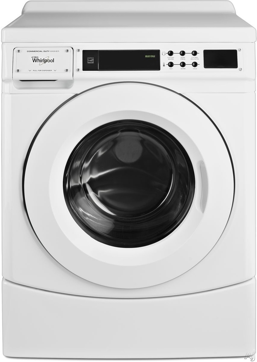 Whirlpool CHW9160GW 27 Inch Front Load Commercial Washer with Automatic Load Balancing, Microprocessor Controls, Super Cycle, Drive System, Redesigned Bellow, Triple-Lip Seal, Trunnion, 1000 RPM, 3.1 cu. ft. Capacity and ENERGY STAR® CHW9160GW