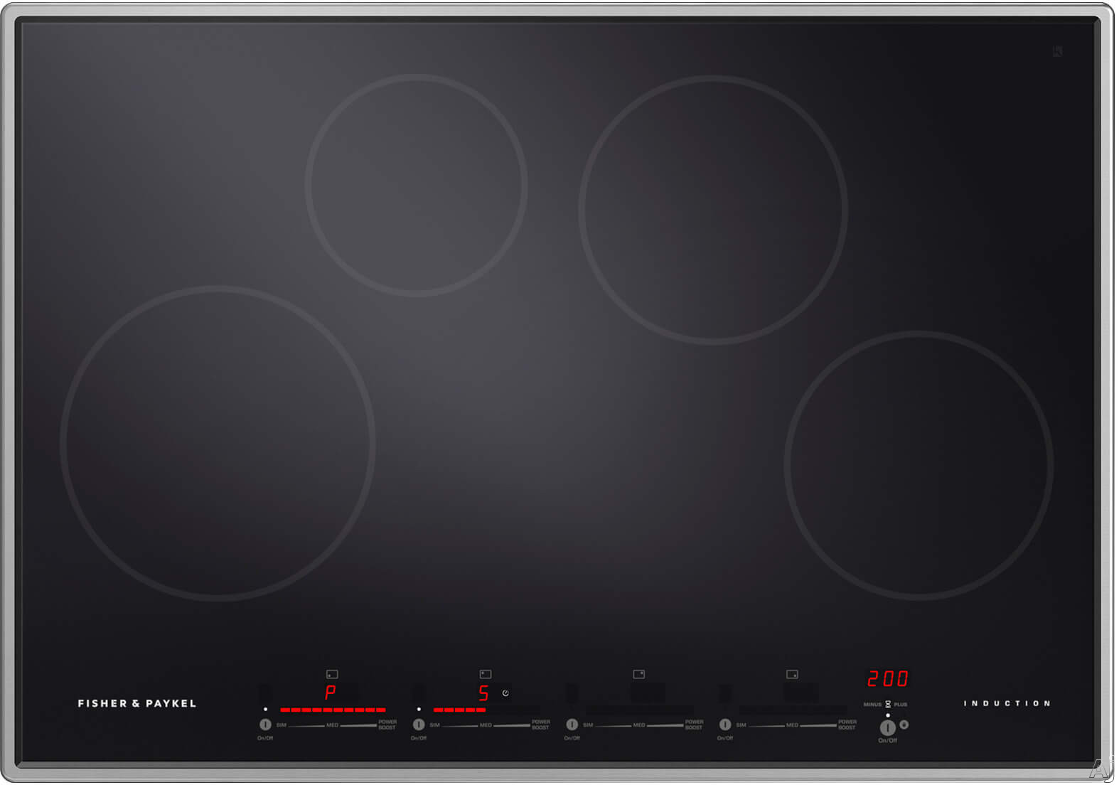 Fisher & Paykel CI304PTX1N 30 Inch Induction Cooktop with 5 Cooking Zones, Touch & Slide Controls, PowerBoost & GentleHeat and Easy Clean