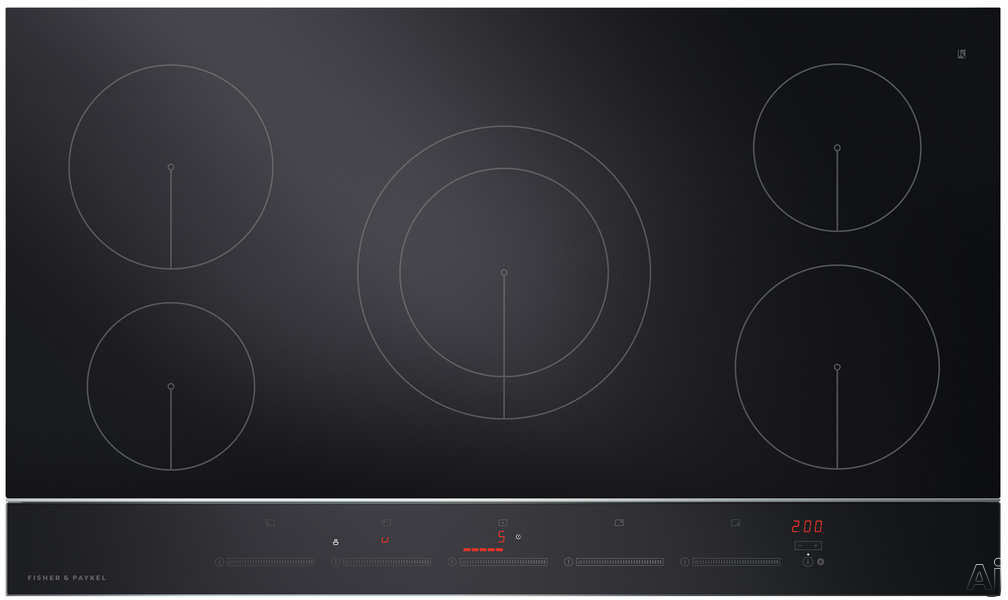 Fisher & Paykel CI365DTB2N 36 Inch Electric Induction Cooktop with 5 Cooking Zones, PowerBoost with up to 5500W Output, Black Ceramic Glass, Hot Surface Indicator, Spillage Auto-Off, Minute Timer and