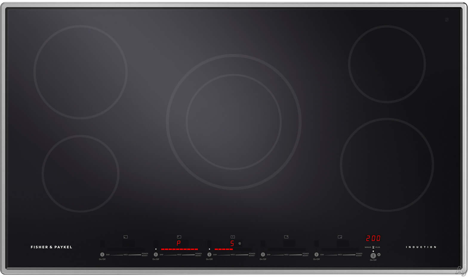Fisher & Paykel CI365PTX1N 36 Inch Induction Cooktop with 5 Cooking Zones, Touch & Slide Controls, PowerBoost & GentleHeat and Easy Clean