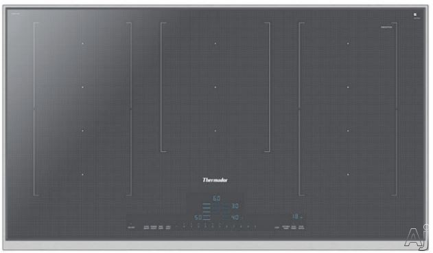 Thermador Masterpiece Series CIT367TMS 36 Inch Induction Cooktop with HeatShift, MoveMode, PanBoost, CookSmart, Stopwatch Timer and Touch Control: Silver Mirrored Finish with Stainless Steel Frame