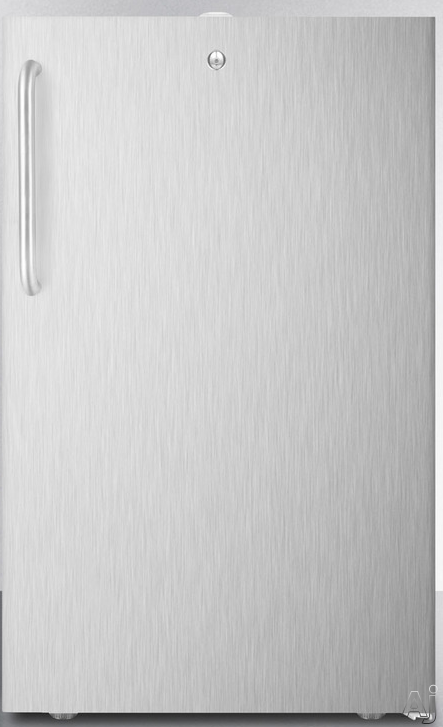 Picture of AccuCold CM411L7CSSADA 4.1 cu. ft. Stainless Steel Wrapped Undercounter Freestanding Commercial Refrigerator with 2 Adjustable Wire Shelves, 1 Crisper Drawer with Glass Cover and Freezer Compartment: ADA-Compliant Height