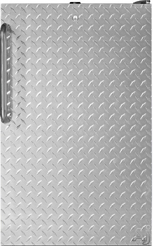 AccuCold CM421BLBIDPLADA 20 Inch Compact Refrigerator with 4.1 cu. ft. Capacity, 2 Adjustable Glass Shelves, Door Lock, Manual Defrost, ADA Height Compliance and Jet Black Cabinet: Diamond Textured Door with Towel Bar Handle CM421BLBIDPLADA