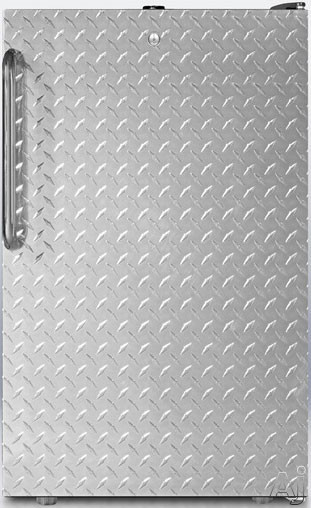 AccuCold CM421BLBI7DPL 20 Inch Built-in Stainless Steel Door Compact Refrigerator with 2 Adjustable Glass Shelves, 1 Crisper Drawer with Glass Cover, Freezer Compartment and Door Lock: Diamond Stainless Door CM421BLBI7DPL