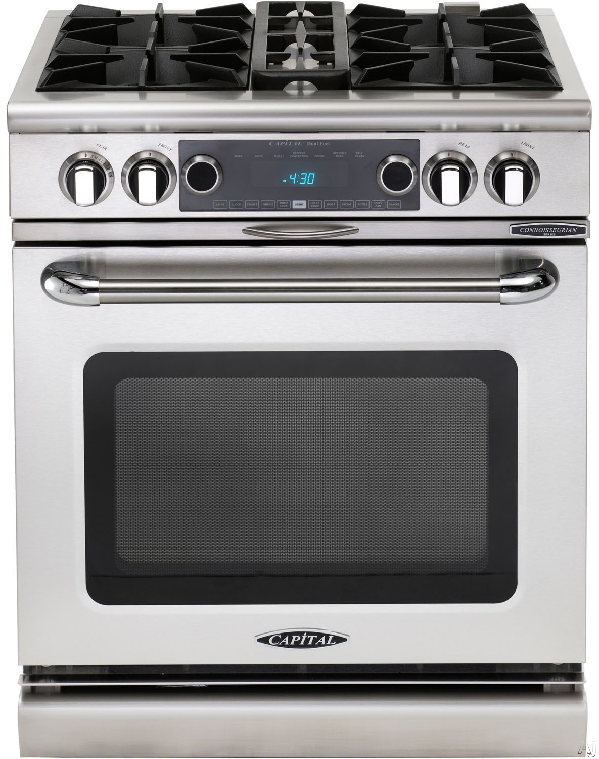 "Capital Connoisseurian Series COB304L 30 Inch Pro-Style Dual Fuel Range with 4 Open Burners, Removable Spill Pans, Dual Air-Flow Convection, Moto-Rotisâ""¢ Rotisserie, Moist Bake Option, Flex-Rollâ""¢ Oven Racks and 5.4 cu. ft. Oven: Stainless Steel, Liqui"