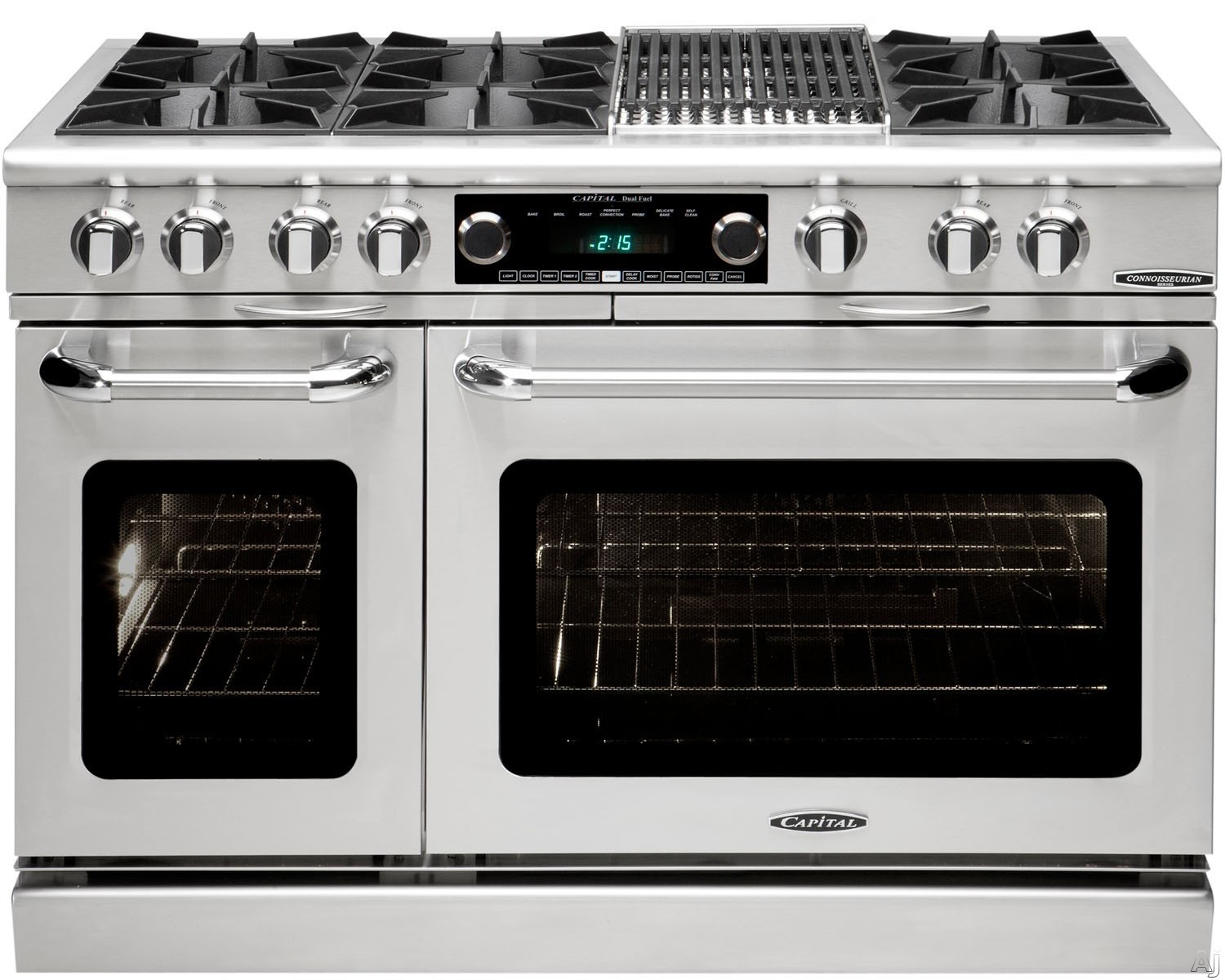 "Capital Connoisseurian Series COB484B2 48 Inch Freestanding Dual Fuel Range with 6 Open Burners, Meat Probes, 12"""" BBQ Grill, Dual Kitchen Timers, Moto-Rotisâ""¢ Rotisserie, Moist Bake Option, 5.4 cu. ft. Primary Oven and 2.4 cu. ft. Secondary Oven"" COB48"