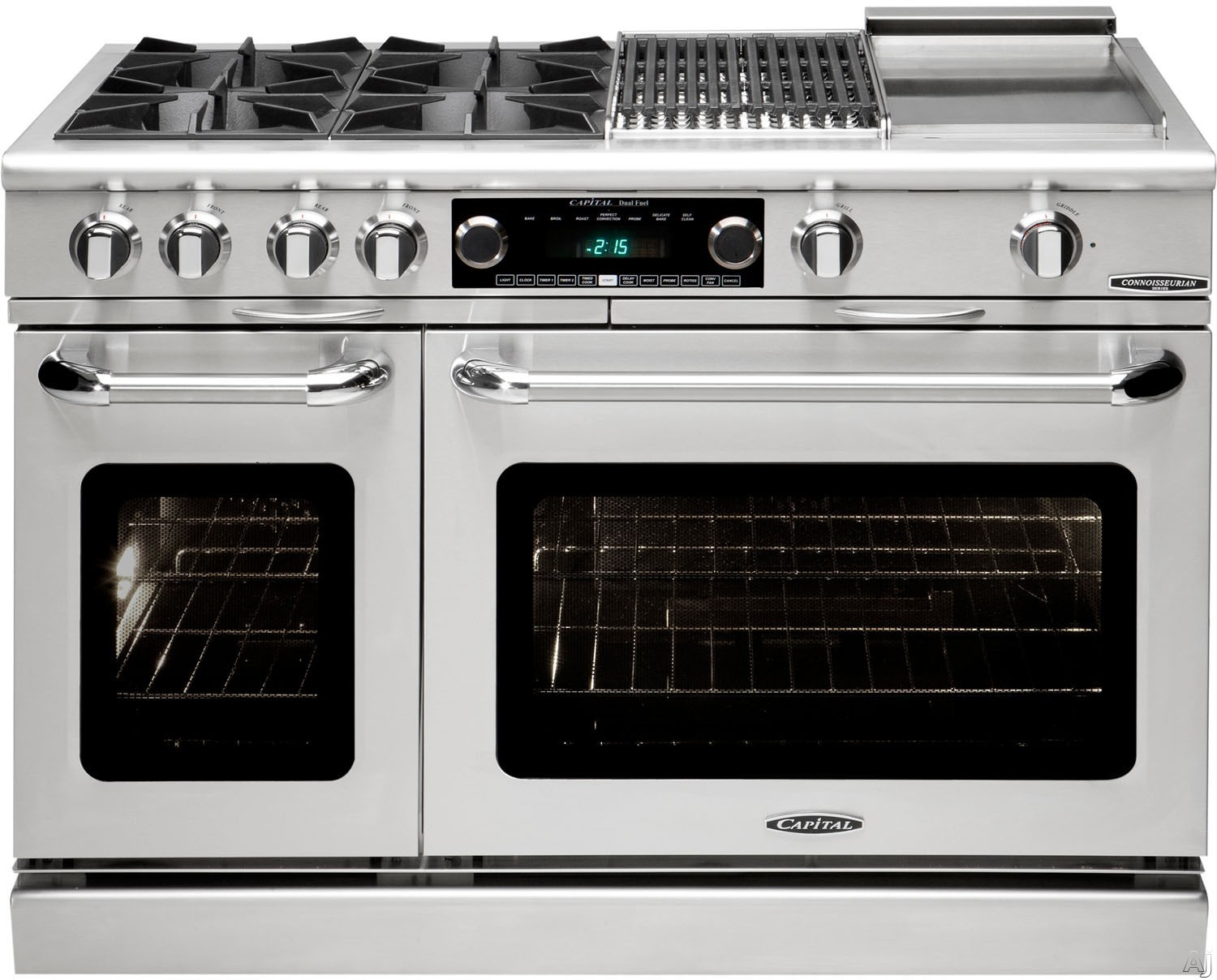 "Capital Connoisseurian Series COB488 48 Inch Pro-Style Dual Fuel Range with 8 Open Burners, Dual Kitchen Timers, Meat Probes, Self-Cleaning Ovens, Moto-Rotisâ""¢ Rotisserie, Moist Bake Option, 5.4 cu. ft. Primary Oven and 2.4 cu. ft. Secondary Oven COB488"