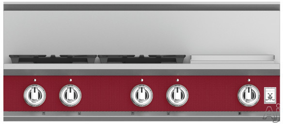 """Hestan KRT364GDLPBG 36 Inch Rangetop with 4 Sealed Burners, 12 Inch Griddle, Cast-Iron Continuous Grates, Backlit Control Knobs and Marquiseâ""""¢ Control Panel: Natural Gas / Tin Roof"""