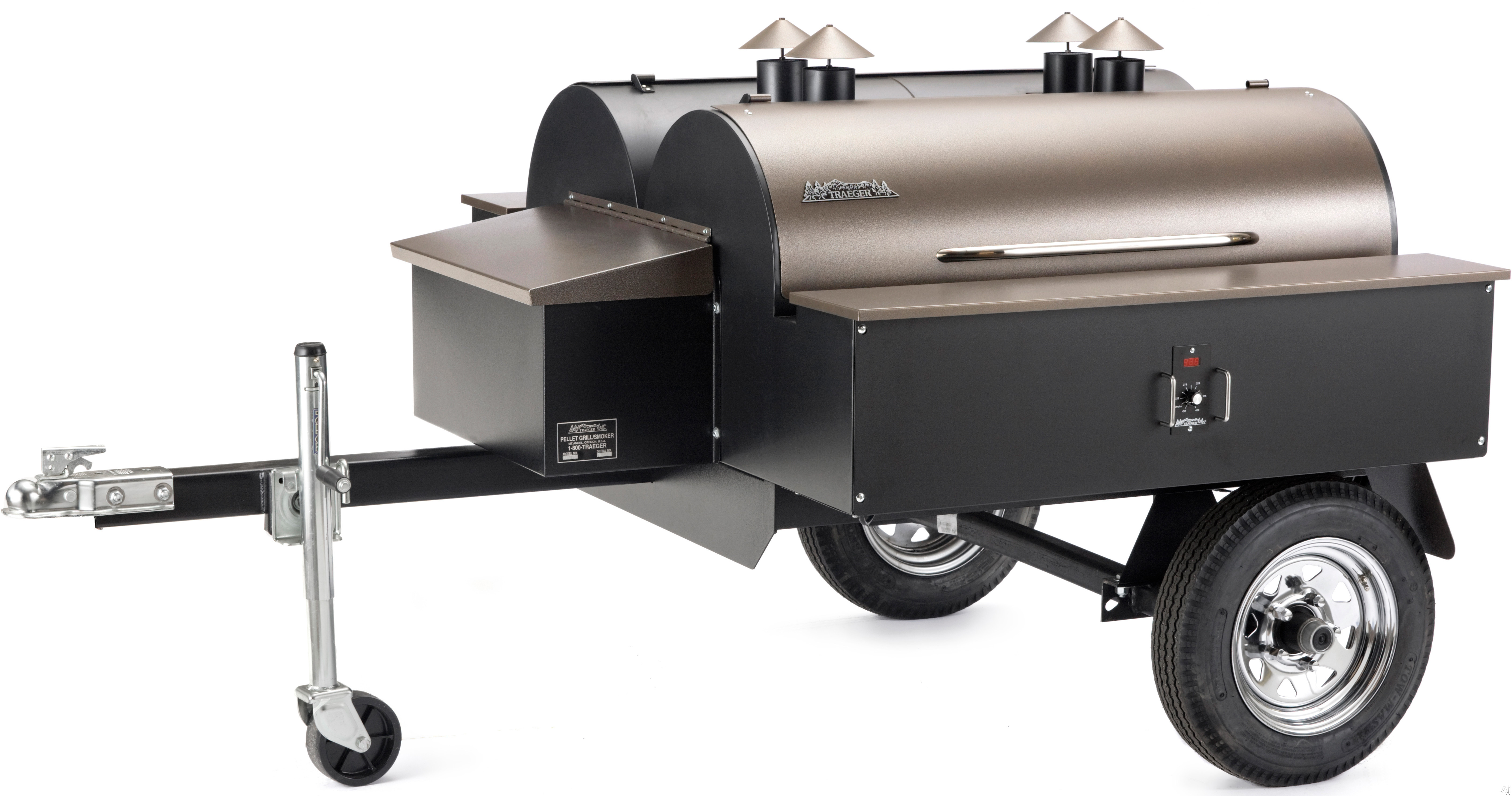 click for Full Info on this Traeger COM190 Double Commercial Trailer Wood Pellet Grill with 1 672 sq in Grilling Area  2 BBQ150 Grills  Digital Thermostat  Cargo Box and Runs Off Standard 110V Outlet